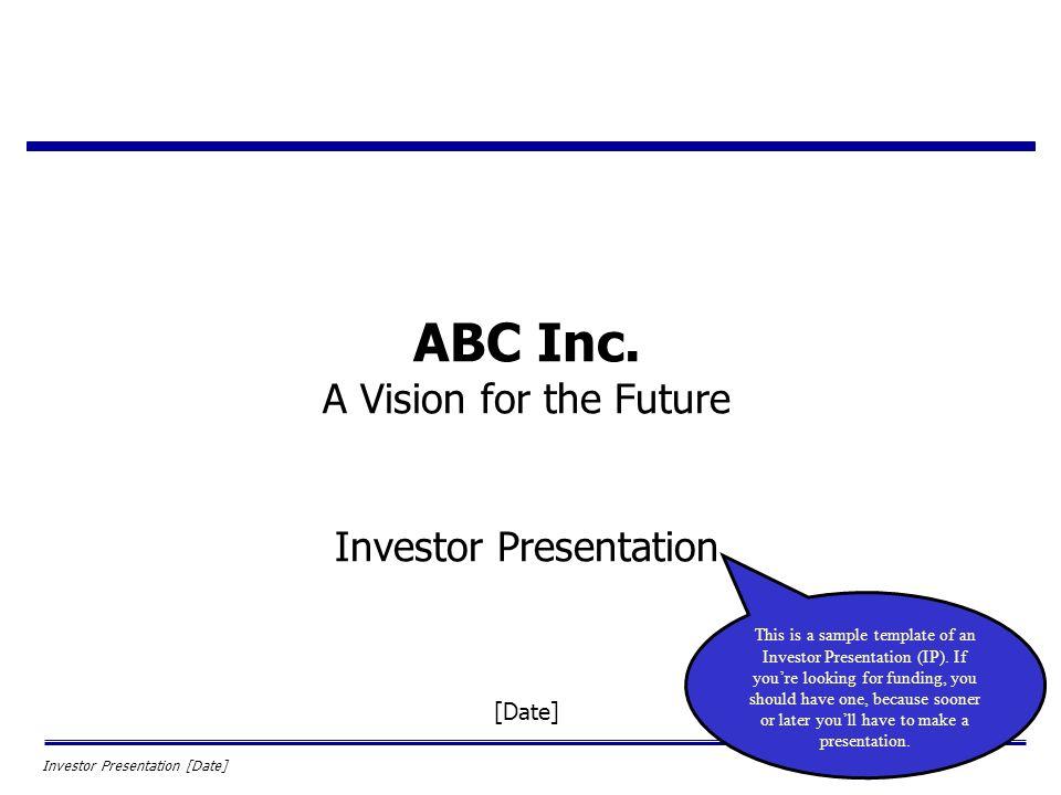 abc inc. a vision for the future investor presentation [date, Presentation templates